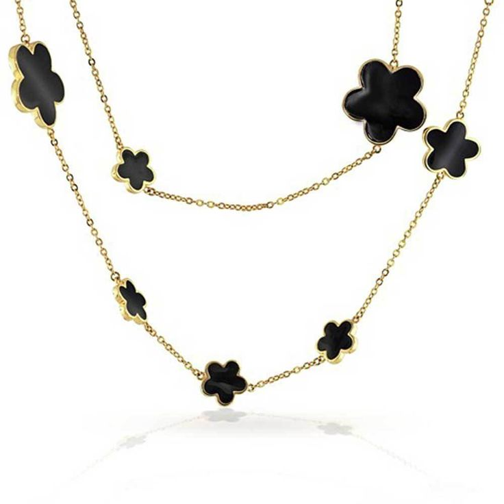 Bling Jewelry Gold Plated Black Enamel Five Leaf Clover Flower Necklace | Jewelry & Watches, Fashion Jewelry, Necklaces & Pendants | eBay!