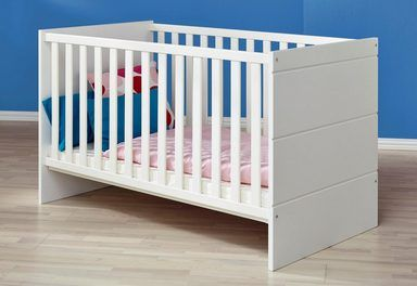 Komplettzimmer »Dresden« Babybett + Wickelkommode + Kleiderschrank, (3-tlg.) in weiß matt