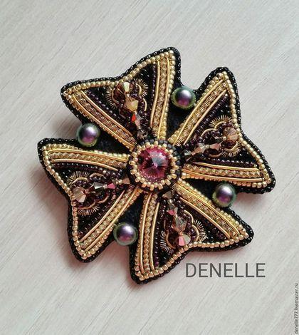 "Брошь ""АМЕТИСТОВЫЙ мальтийский крест""   Bead Embroidered Brooches"
