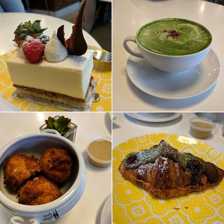 Our weekend bakery craving fulfilled at our favourite neighborhood Patisserie.   Clockwise : 1 White chocolate mousse ( had a fancy French name don't remember)  2 Matcha Latte  3 Raspberry matcha croissant  4 Goat cheese fritters with honey dijon mustard sauce  Fun  #foodiemuggles #weekendfun #sweet #sweettooth #dessert #ilovesweets #instafood #yummy #foodie #delicious #instafoodie #igers #igerswashingtondc #igersdc #food #foodtalkindia #hungry #buzzfeast #huffposttaste #buzzfeedfood…