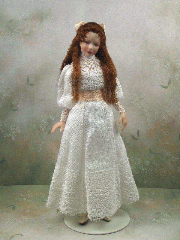 1:12th Dollhouse Miniature Porcelain Edwardian Teen Girl Doll by Terri Davis