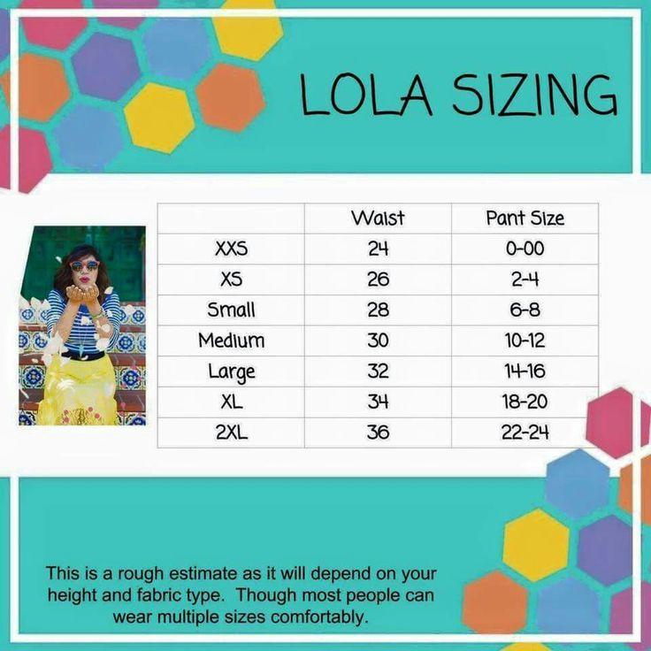 Lola Sizing www.facebook.com/groups/LuLaRoewithBridgetBurton