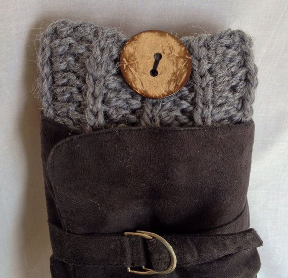 Crochet Ribbed Boot Cuffs - Grey Alpaca with Coconut Buttons on Etsy, $29.99 CAD