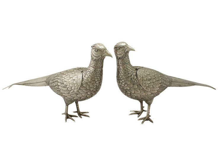 Details About Antique German Silver Pheasant Sugar Boxes