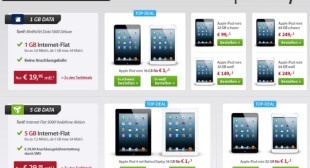 iPad mini oder iPad 4 mit Vertrag ab 1,00 Euro bei Sparhandy