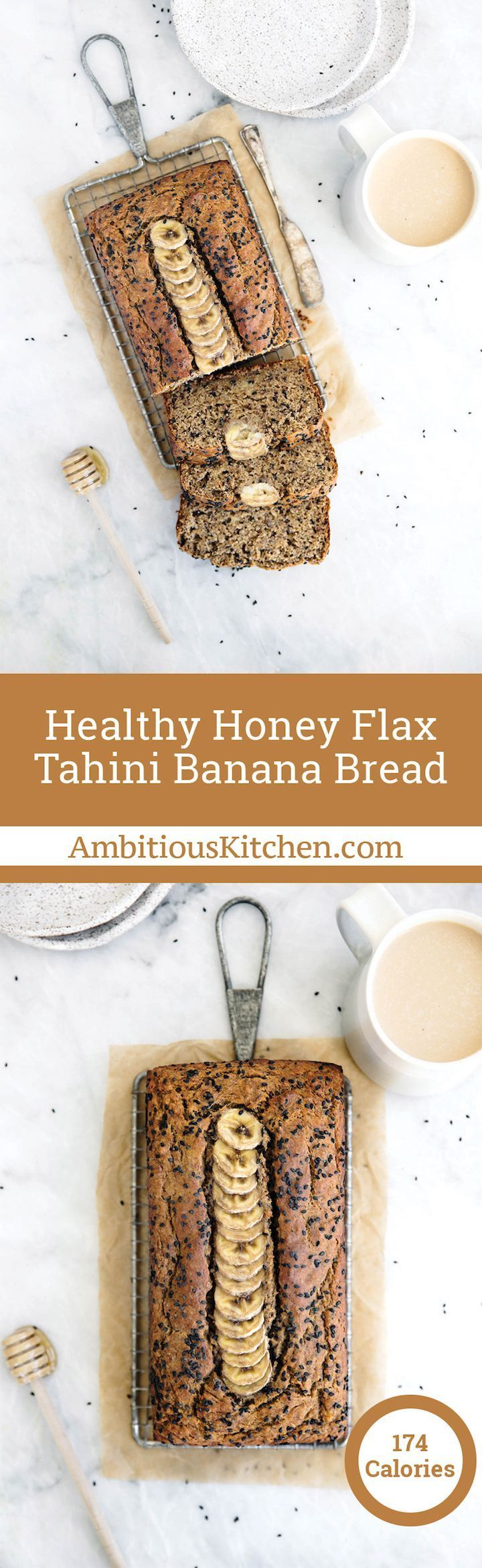 Healthy Tahini Banana Bread made with whole wheat flour, flaxseed, sesame seeds and naturally sweetened with honey. This healthy bread is wonderful toasted with a drizzle of honey. All clean eating ingredients are used for this healthy breakfast recipe. Pin now to try later!