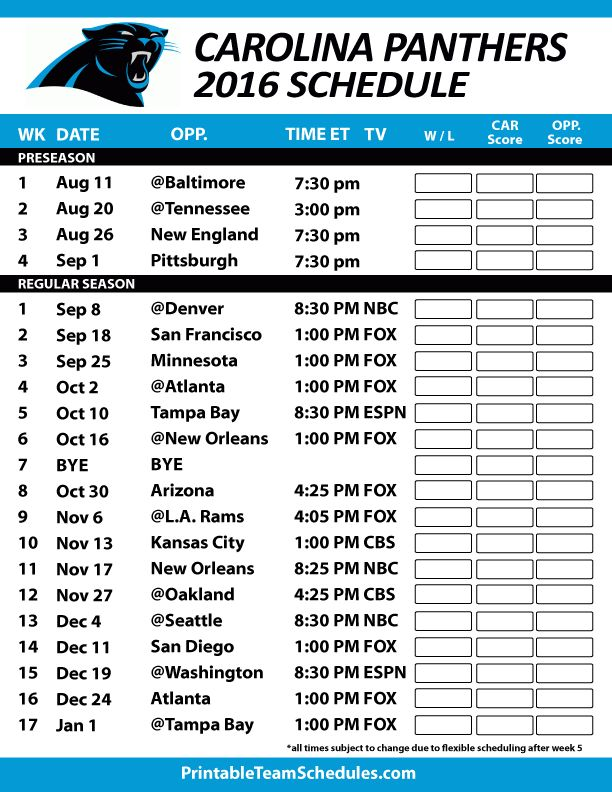 Carolina Panthers Football Schedule. Print Schedule Here - http://printableteamschedules.com/NFL/carolinapanthersschedule.php