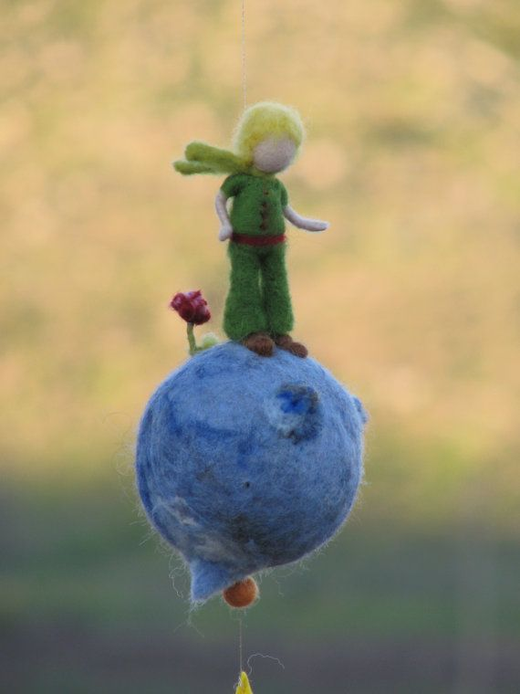 Waldorf inspired Prince needle felted Little boy prince boy mobile #needlefelted #doll #little_prince #tale #nursery #mobile #home #decor #room #home_decor
