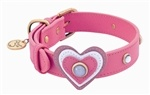 Pink leather dog collar with heart and white Cat Eye gem stone.  Adorable!