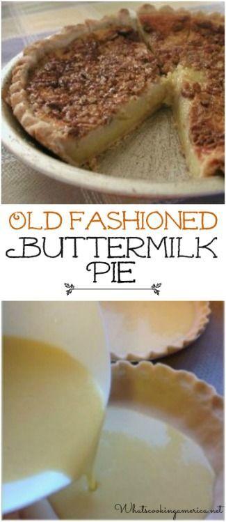 Old Fashioned Buttermilk Pie Recipe  |  whatscookingamerica.net  |  #buttermilk #pie #thanksgiving