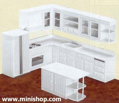 Upper Kitchen Cabinet-White - Miniature Dollhouse