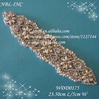 beaded rhinestone appliques patch for wedding dresses WDD0175