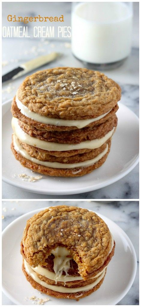 Gingerbread Oatmeal Cream Pies - thick chewy gingerbread oatmeal cookies filled with marshmallow cream! These are incredible!!!
