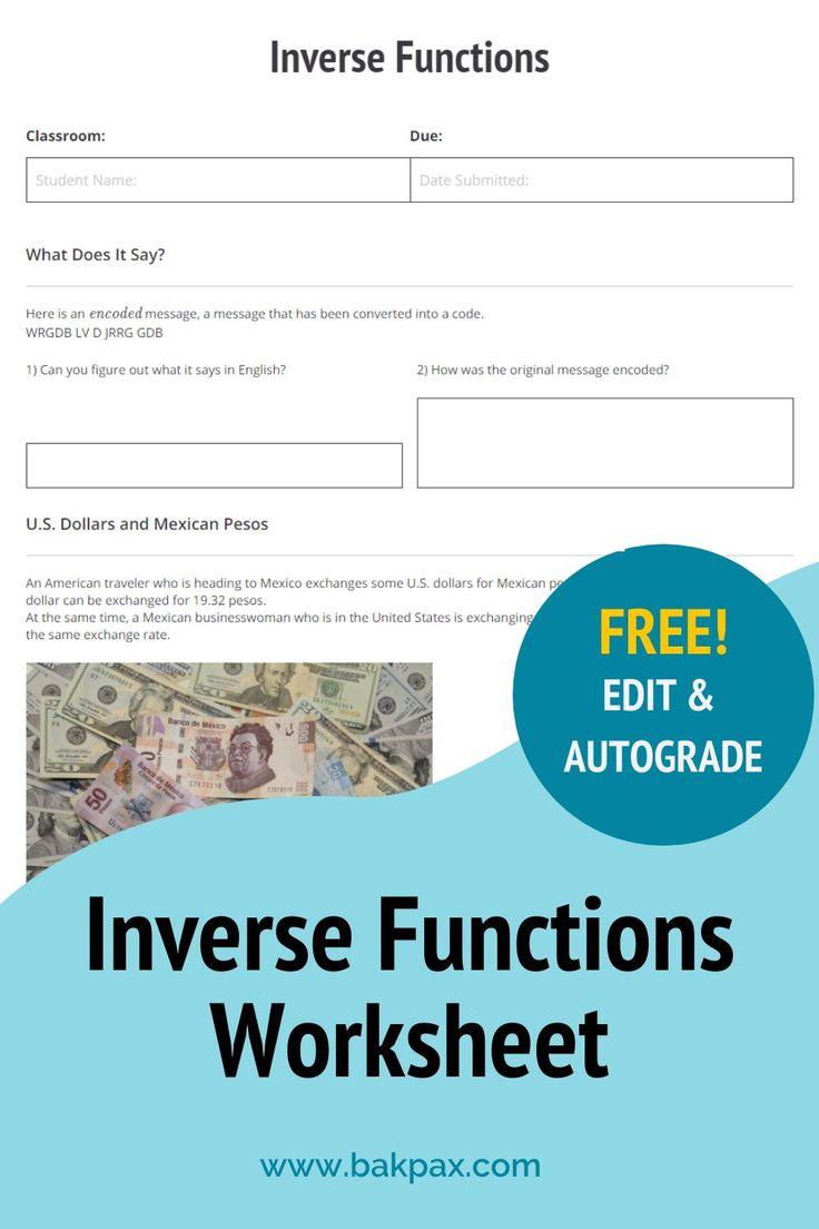 Free Inverse Functions Algebra Worksheet In 2020 Inverse Functions Functions Algebra Algebra Worksheets