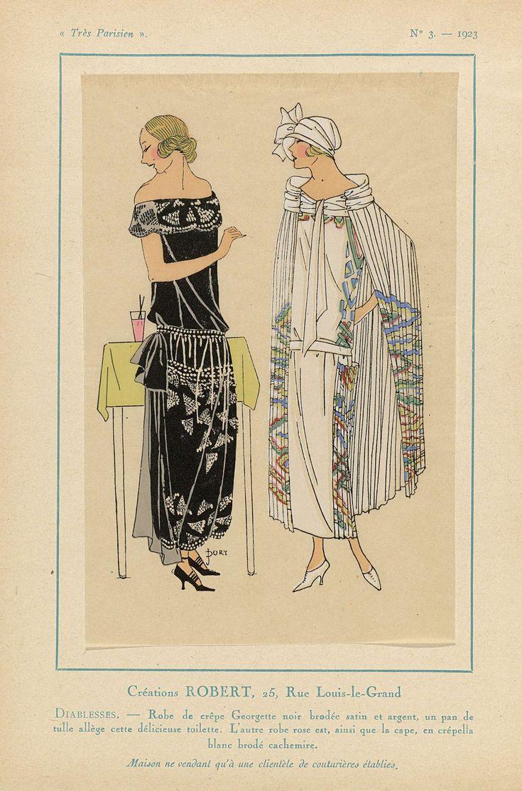 Anonymous | Très Parisien, 1923, No. 3: Créations ROBERT...Diablesse, Anonymous, Robert, G-P. Joumard, 1923 | Ontwerpen van Robert. Jurk van zwarte 'crêpe Georgette' geborduurd met satijn en zilver, een strook van tule maakt dit mooie 'toilette' af. De andere jurk is roze, de cape van witte crépella geborduurd met kasjmier. Accessoires: cloche (pothoed), pumps. Prent uit het modetijdschrift Très Parisien (1920-1936).
