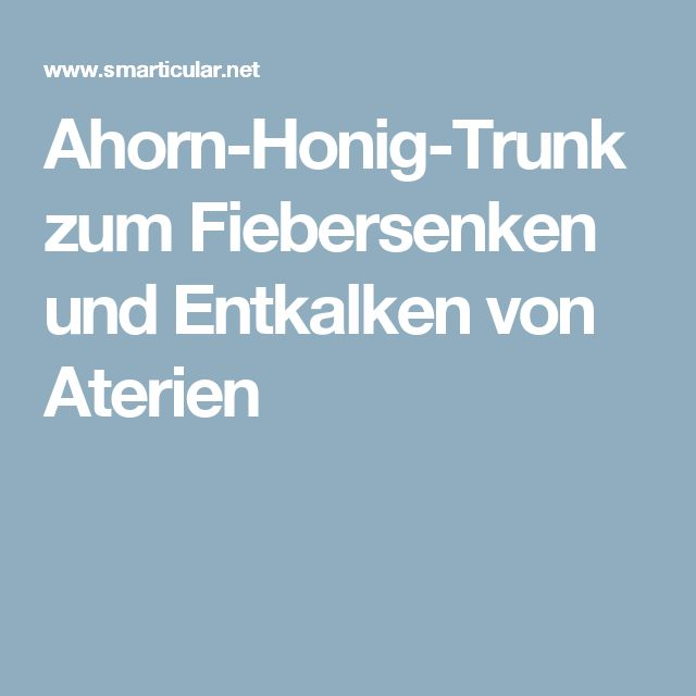 Ahorn-Honig-Trunk zum Fiebersenken und Entkalken von Aterien