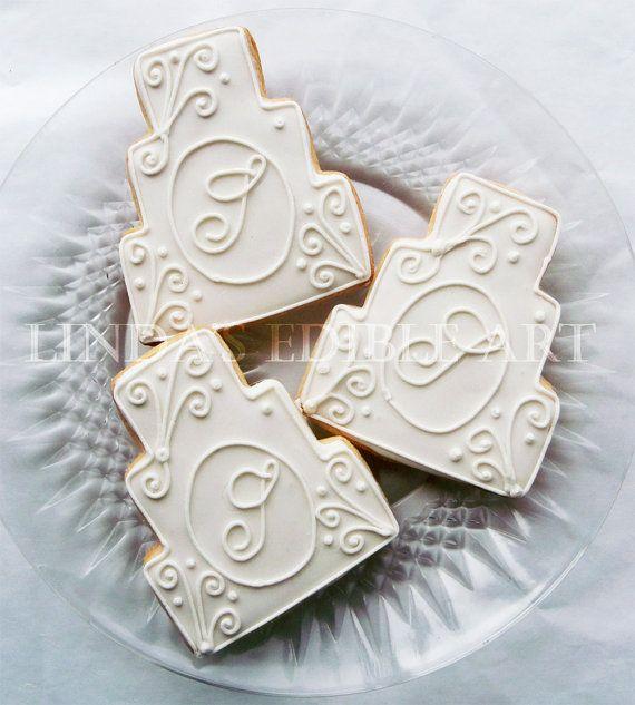 Monogrammed Wedding Cake Cookies by LindasEdibleArt on Etsy, $36.00