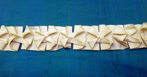 Bow tie box pleat ruffle made by Susan Woodcock for Rowley Company how-to / origami ruffle