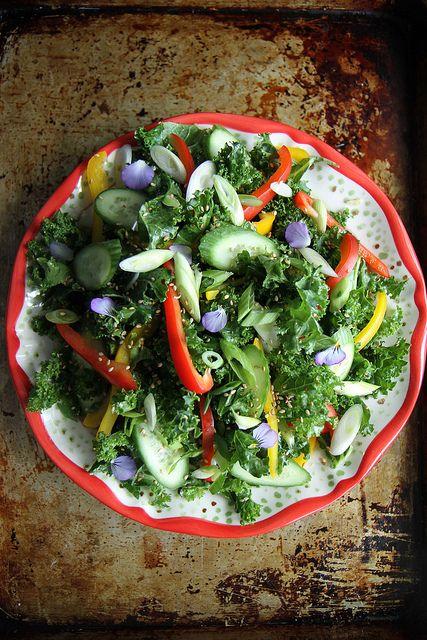 Asian Kale Salad with Sesame Dressing - Vegan