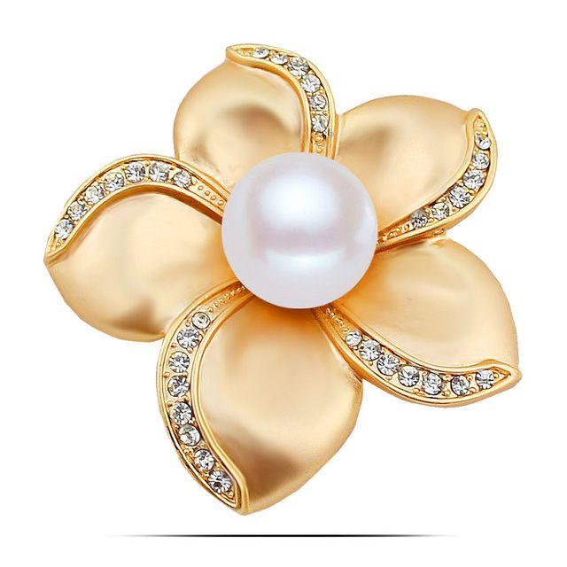 Luxusná brošňa v tvare kvietiny s kryštálikmi a perlou