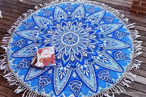 Neelkamal Blue Ombre Mandala Beach Round Throw