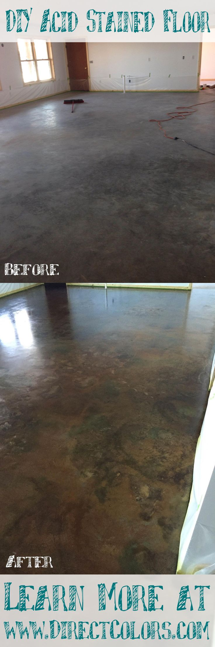 Our Project of the Week comes to us from the cold weather state of Minnesota! I mention this because below freezing temperatures make even indoor concrete projects difficult so take advantage of our same day shipping and get started today before it's just too COLD!! Thanks to Leslie G. for pictures of her DIY Living Room project using Shifting Sand (my favorite color), Coffee Brown and Cola Acid Stained sealed with DCI Water Based Sealer.