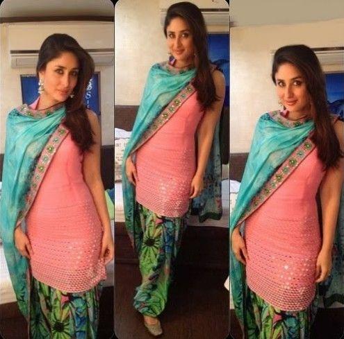 Kareena Kapoor Wear Beautiful Patiala Salwar Kameez New Fashion Suits  by Bollywood Designers-4