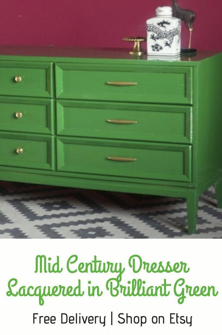 This Is A Vintage Dresser Painted In This Stunning Bright Beautiful Green The Color Is Calle European Home Decor Mid Century Dresser Green Painted Furniture [ 1112 x 736 Pixel ]