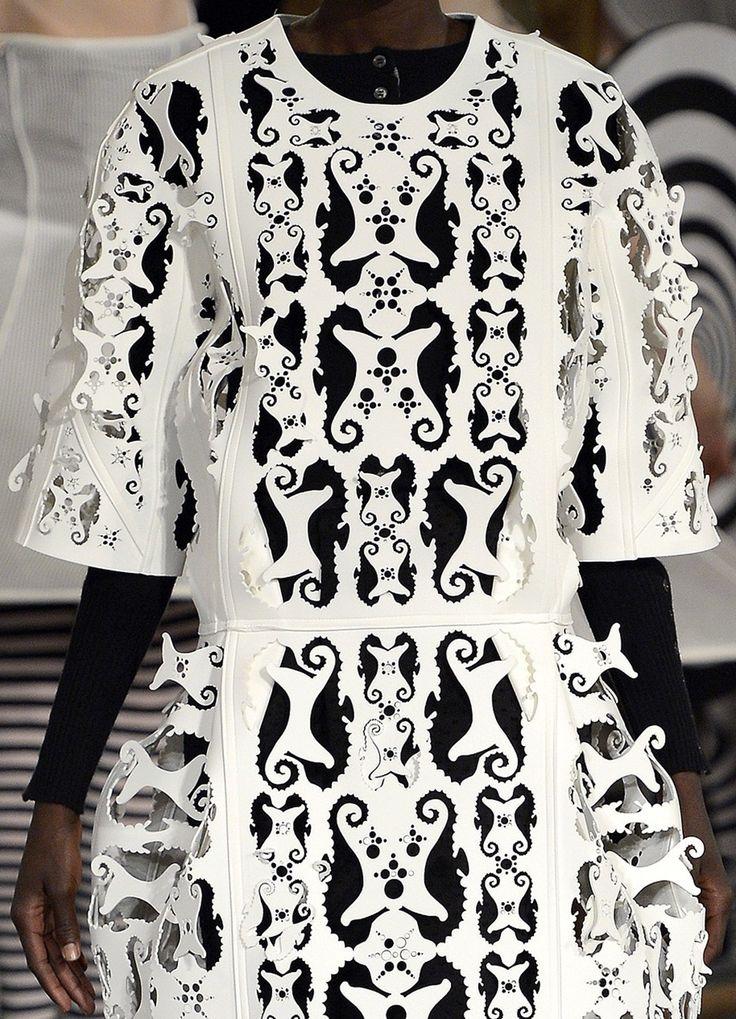 Laser Cut Fashion - graphic black & white lasercut seahorse dress - cool fashion details // Thom Browne