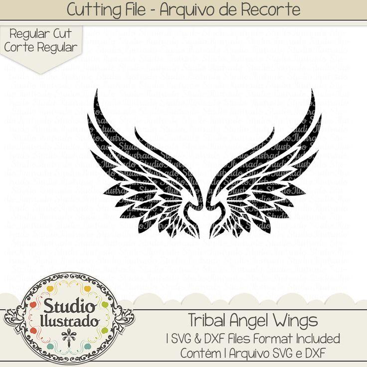 Tribal Angel Wings, Tribal, Angel Wings, Angel, Wings, Asas, Asas de anjo, Anjo, anjos, arquivo de recorte, corte regular, regular cut, svg, dxf, png, Studio Ilustrado, Silhouette, cutting file, cutting, cricut, scan n cut.