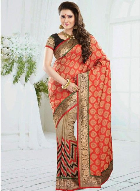 Chic Beige & Pale Red Embroidered Color Art Silk Based Embroidered #Saree #clothing #fashion #womenwear #womenapparel #ethnicwear