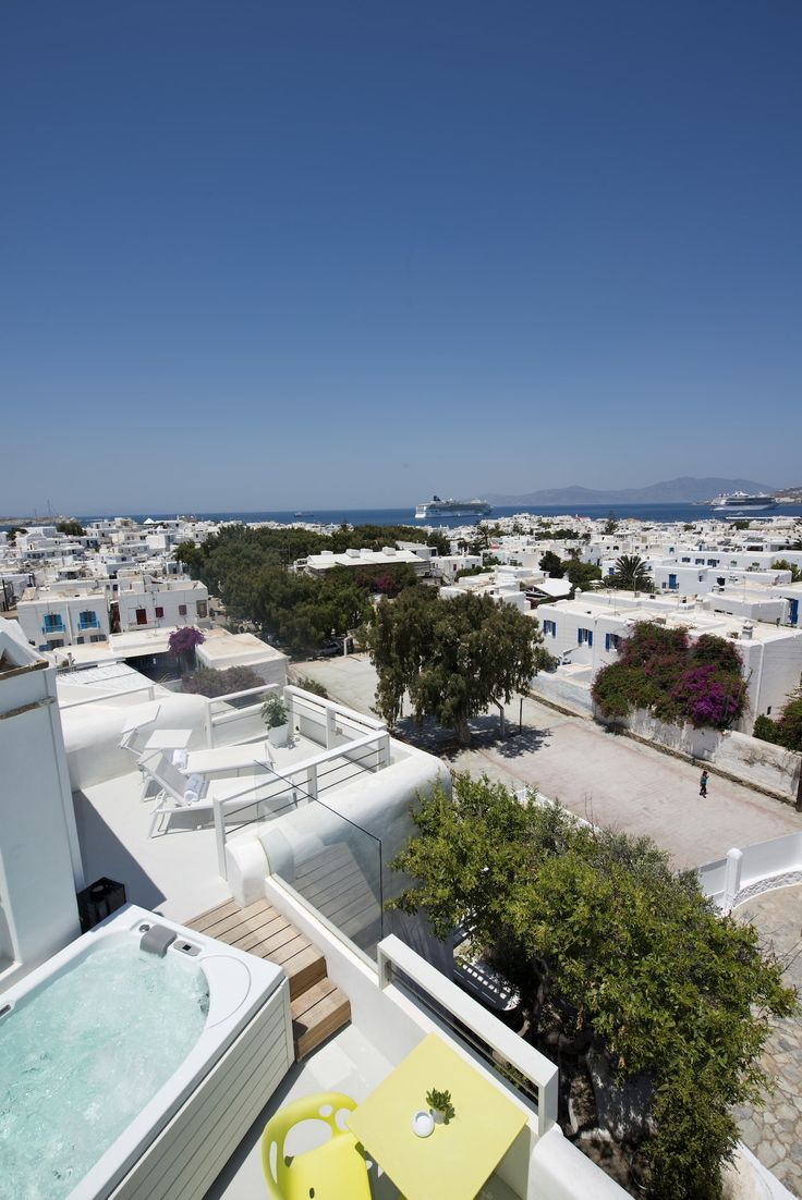 The view of Mykonos Town as seen from the luxurious Semeli Suite. The most amazing accommodation experience our hotel has to offer.  http://www.semelihotel.gr/accommodation/semeli-suite-panoramic-view-mykonos/  #Semeli #SemeliHotel #Mykonos