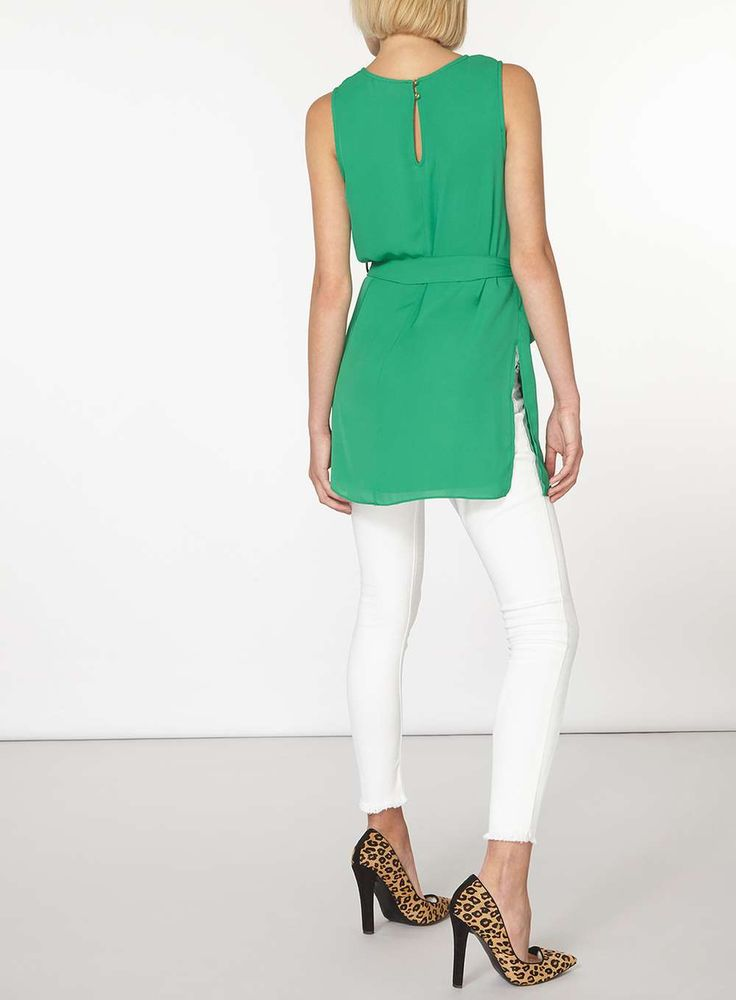 Womens Green Longline Tunic- Green