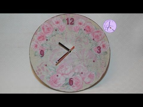 Tutorial: Decoupage, cracklè, stencil ed effetto shabby su orologio di l...