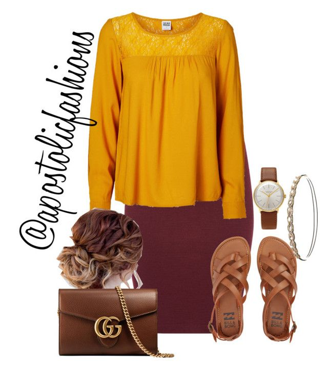 """Apostolic Fashions #1731"" by apostolicfashions on Polyvore featuring Sessùn, Billabong, Vero Moda, Junghans, Gucci and Charlotte Russe"