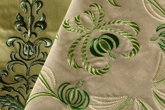 Green linen embroidery