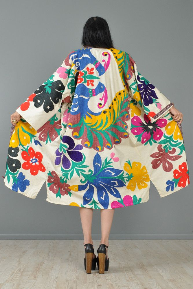 Eastern European Embroidered Peacock Kimono Jacket