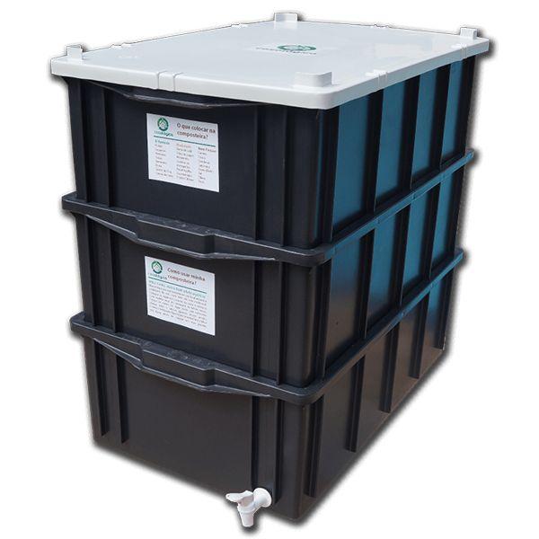 -A Composteira Doméstica transforma resto de comida, estrume, etc em composto orgânico, podendo ser utilizado como adubo-Kit Compostagem disponível em três tamanhos-Inclui minhocas californianas-Livre de qualquer odor