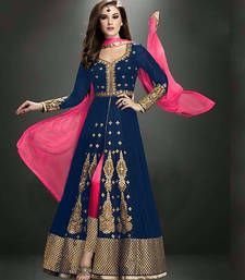 Buy Dark blue georgette and  dhupian embroidered semi stitiched salwar with dupatta party-wear-salwar-kameez online