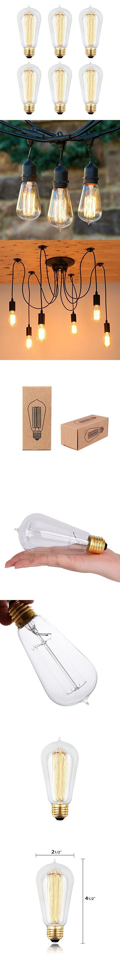 6pcs Edison Bulbs, KinHom 60 Watt Dimmable Vintage Incandescent Light Bulb - E26 Base - Clear Glass - Tear Drop Top - Classic Squirrel Cage Filament Lamp - ST58