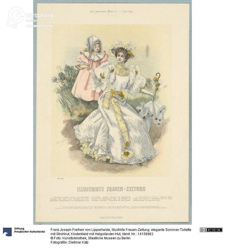 Illustrirte Frauen-Zeitung: elegante Sommer-Toilette mit Strohhut, Kinderkleid mit Helgoländer-Hut on www.europeanafashion.eu