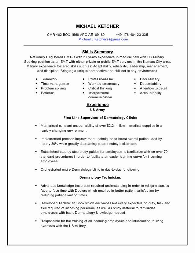 Emt Resume With No Experience Unique Emt Resume Resume Registered Nurse Resume Nurse Skills
