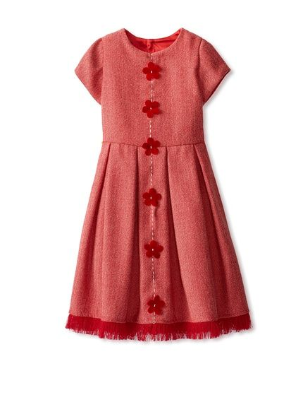 Isabel Garreton Kid's Cap Sleeve Dress with Embroidery,