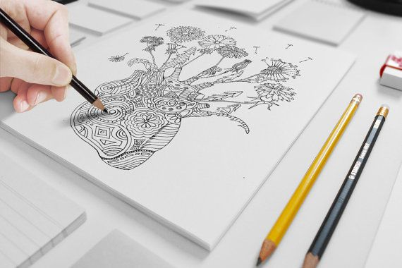 Fragile Heart adult coloring page