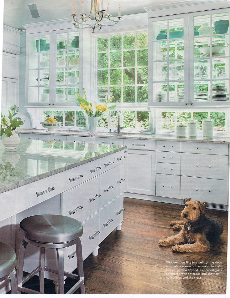 Glass kitchen display cabinets over windows dream for Kitchen display