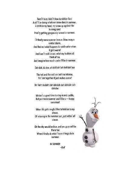 In Summer Lyrics from Frozen | Music - Oh My Disney