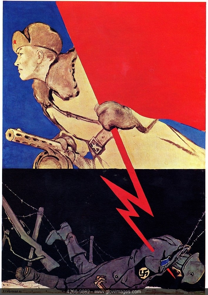 "Ooo. God, I love Soviet propaganda posters. This is actually one of the few I'd love to add to my collection. (""Soviet propaganda poster. WWII."")"