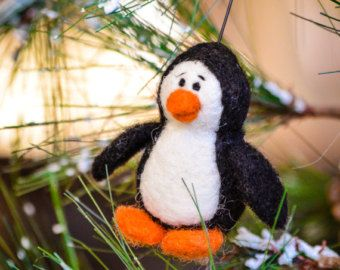 Pingüino de fieltro - Needle Felting Kit - bricolaje Kit - Kit de arte - fieltro materiales - bricolaje Kit - Kit de inicio - aguja de fieltro – principiante