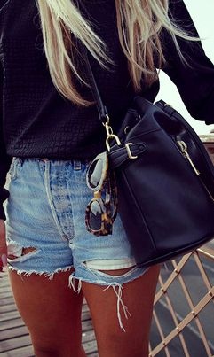 Urban outfitters. Denim cutoffs, black knit and bag, and leopard sunglasses
