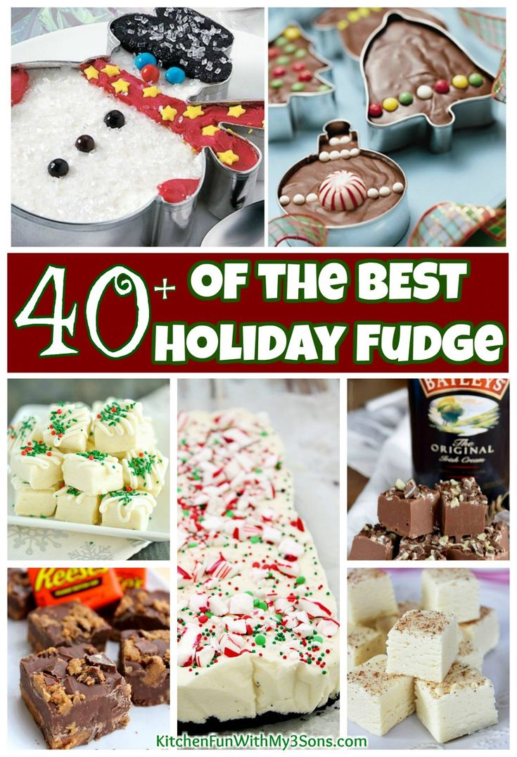 We gathered up Over 40 of the BEST Holiday Fudge Recipes. Everything from festive peppermint, chocolate, eggnog, Reese's, mint, Bailey's, and much more!
